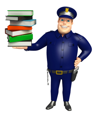 book stack: Police with Book stack Stock Photo