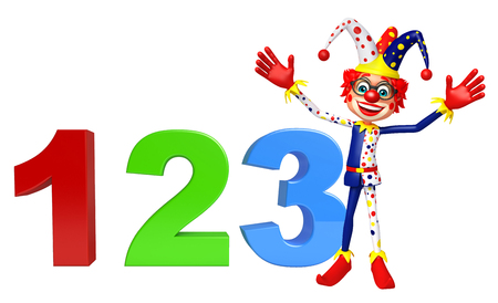 red nose: Clown with 123 sign