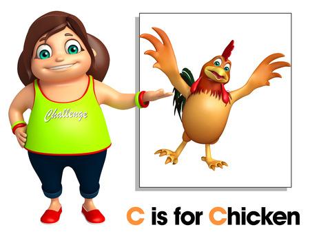 toonimal: Kid Girl pointing Chicken