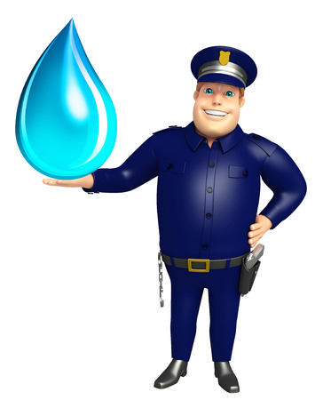 Police with Water drop Stock Photo