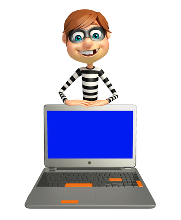 Thief with Laptop Stock Photo
