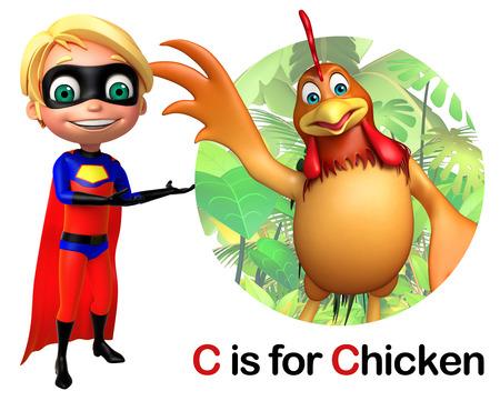toonimal: Super boy pointing Chicken