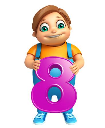 digit 8: kid boy with 8 Digit Stock Photo