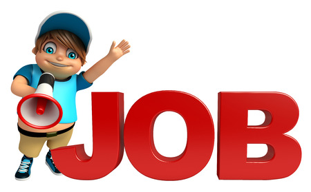 clipart speaker: kid boy with  Job sign  & Loud speaker Stock Photo