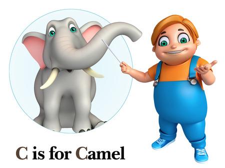 kid pointing: Kid boy pointing Elephant