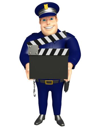 クラッパー ボードと警察 写真素材