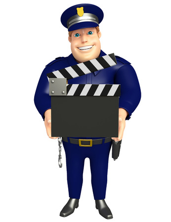 Police with Clapper board 写真素材