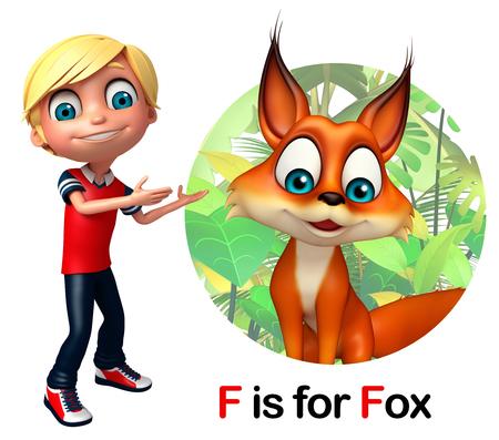 Kid boy pointing fox