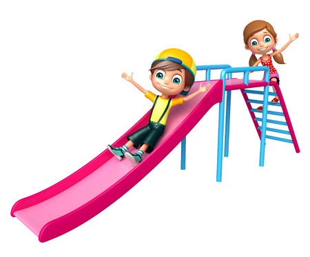 Kid boy and girl with Sliding