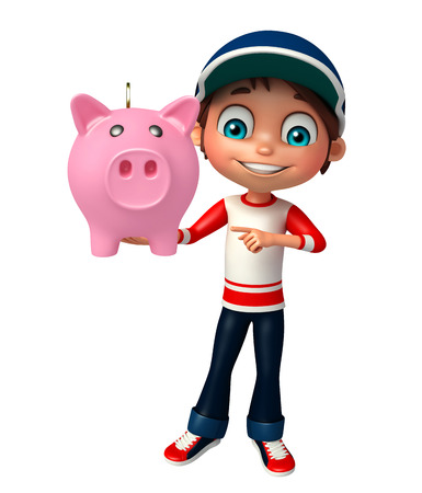 bank book: kid boy with piggy bank Stock Photo