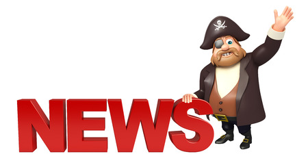 tricorne: Pirate with News sign