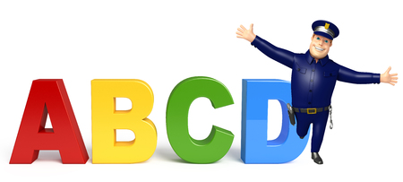 Police with ABCD sign Stock Photo