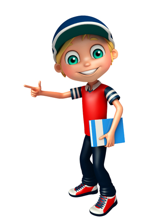 kid boy with pointing & book Stock Photo