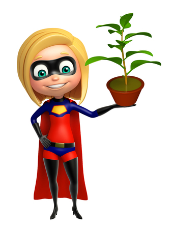 supergirl: supergirl with Plant Stock Photo