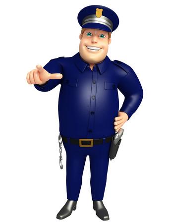 指すポーズで警察 写真素材