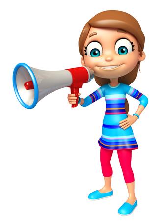 loud: kid girl with Loud speaker