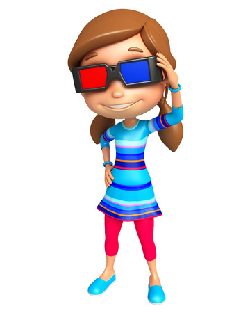 goggle: kid girl with 3D goggle