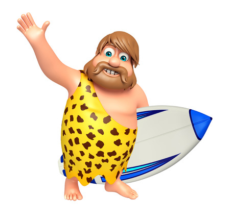 paleolithic: Caveman with Surfboard Stock Photo
