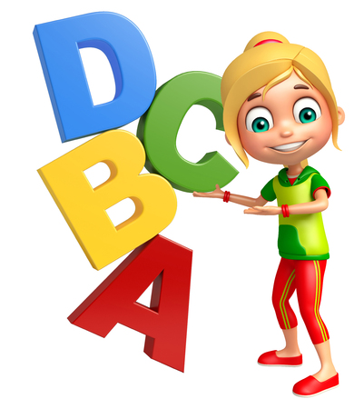 abcd: kid girl with Abcd sign Stock Photo