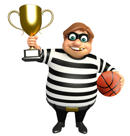 loafer: Thief with Winning cup & basketball