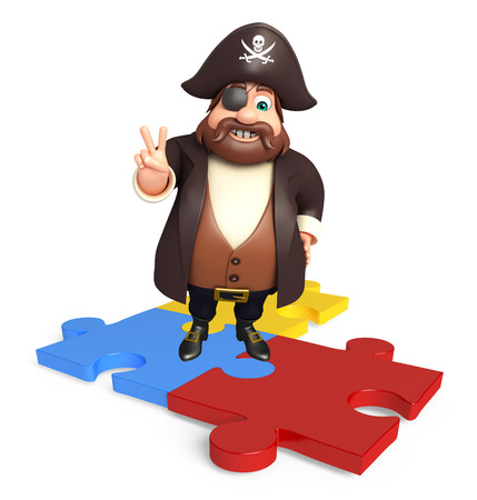 tricorne: Pirate with Puzzle Stock Photo