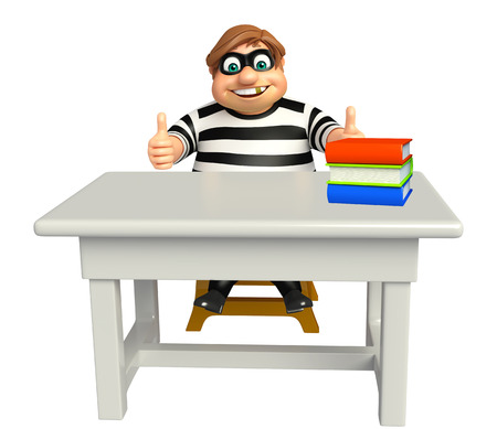burgle: Thief with Table & chair,book stack Stock Photo