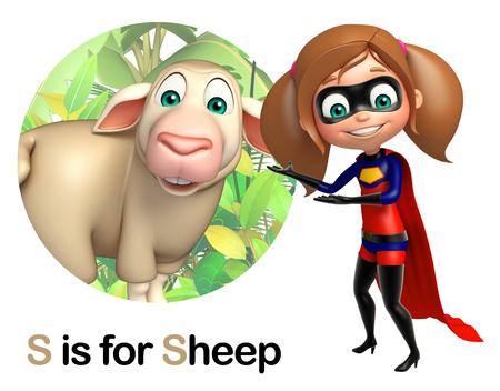 super girl: super girl pointing Sheep Stock Photo