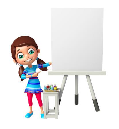 white board: kid girl with White board