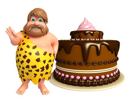 lanzamiento de jabalina: Hombre de las cavernas con la torta