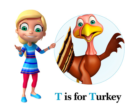toonimal: Kid girl pointing Turkey Stock Photo