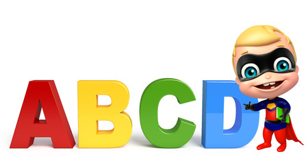 cute superbaby with ABCD sign Stock Photo