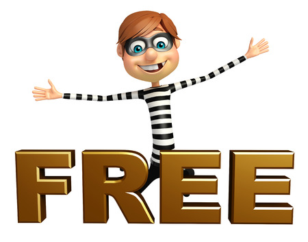 burgle: Thief with Free sign Stock Photo