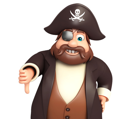 tricorne: Pirate with Thumbs down Stock Photo