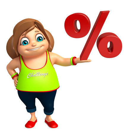 the percentage: kid girl with  percentage sign Stock Photo