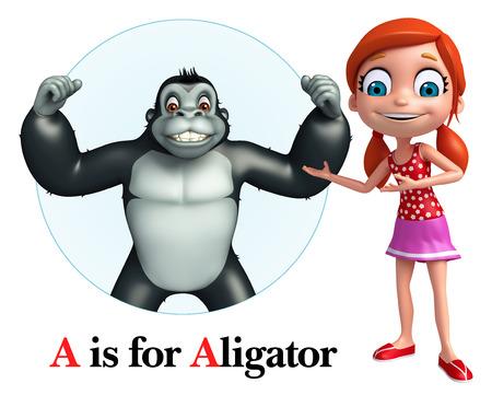 ape: Kid girl pointing Ape Stock Photo