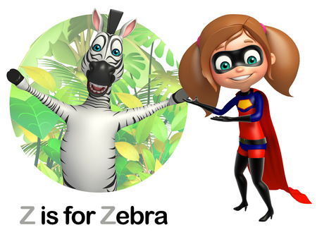 super girl: Super girl pointing Zebra Stock Photo