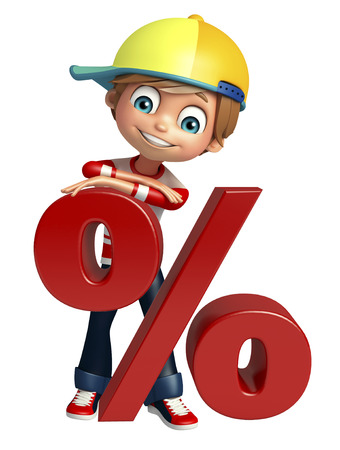 the percentage: kid boy with percentage sign