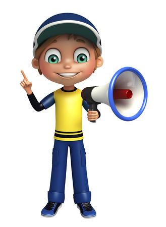 loud: kid boy with loud speaker