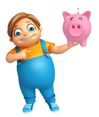 kid boy with piggy bank Stock Photo