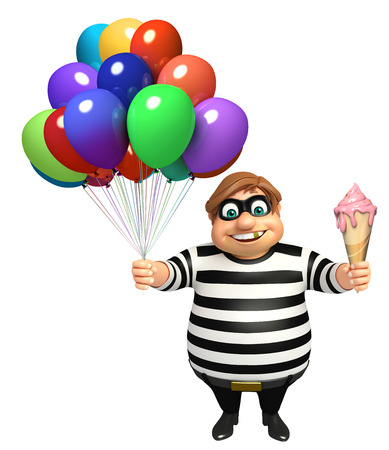 Thief with Ice cream & Balloons