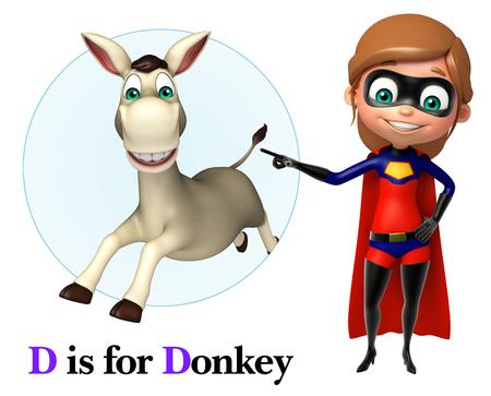super girl: Super girl pointing Donkey Stock Photo