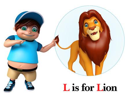 Kid boy pointing lion