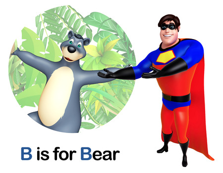 Super hero pointing Bear