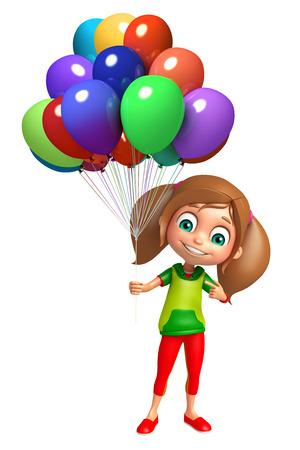 kid girl with Balloon