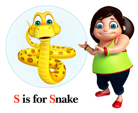 Kid girl pointing Snake Stock Photo