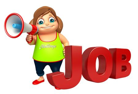 kid girl with  Job sign &  Loud speaker Reklamní fotografie