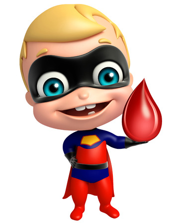 heroic: cute superbaby with Blood drop Stock Photo