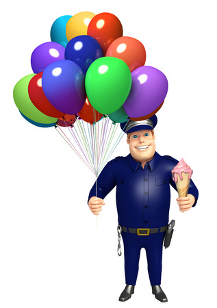 Police with Balloon and icecream 写真素材
