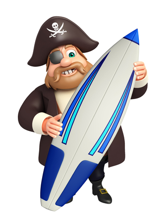 tricorne: Pirate with Surfboard Stock Photo