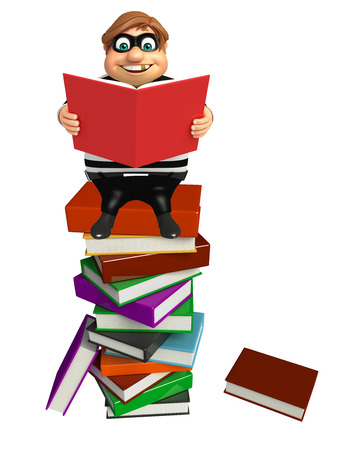 Thief with Book stack & book
